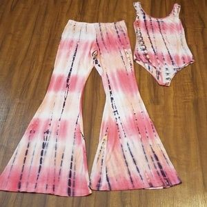 Other - Coral Bodysuit with matching flare pants